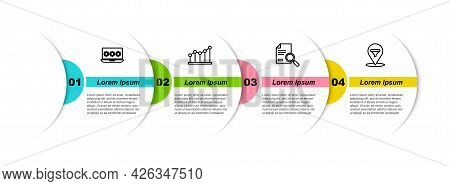 Set Line Laptop With Password, Pie Chart Infographic, Document Search And Location Sales Funnel. Bus