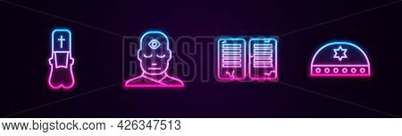 Set Line Priest, Man With Third Eye, The Commandments And Jewish Kippah Star Of David. Glowing Neon