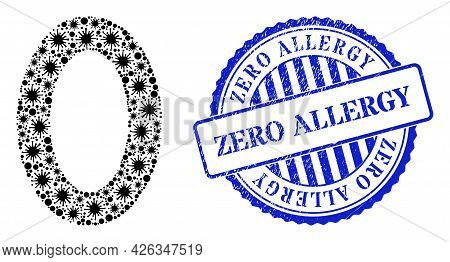 Cell Collage Digit Zero Icon, And Grunge Zero Allergy Seal Stamp. Digit Zero Collage For Isolation I