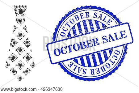 Viral Mosaic Checkered Tie Icon, And Grunge October Sale Stamp. Checkered Tie Mosaic For Medical Tem
