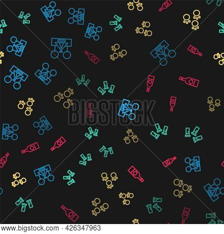 Set Line Tourist Tent, Cartridges, Paw Print And Bottle Of Vodka On Seamless Pattern. Vector
