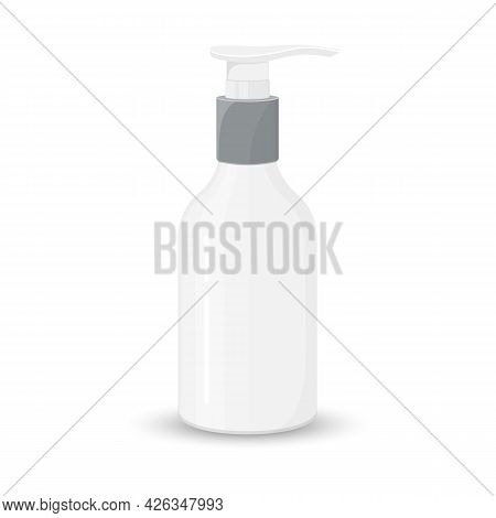 Blank Template Of Plastic Bottle With Dispenser. Mock-up Of Package. Empty And Clean White Plastic C