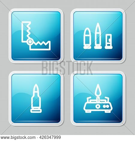 Set Line Trap Hunting, Bullet And Cartridge, And Camping Gas Stove Icon. Vector