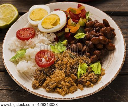 High Angle Delicious Brazilian Food Composition. High Quality Beautiful Photo Concept