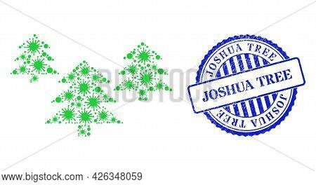 Virulent Mosaic Fir Tree Forest Icon, And Grunge Joshua Tree Seal Stamp. Fir Tree Forest Mosaic For
