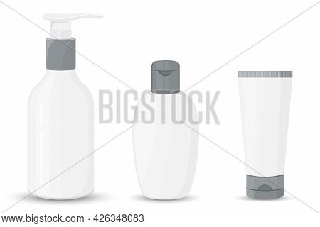 Set Of Antibacterial Hand Sanitizers Mockups Isolated On White Background. Vector Flat Illustration