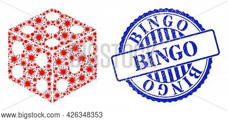 Coronavirus Mosaic Dice Cube Icon, And Grunge Bingo Badge. Dice Cube Mosaic For Epidemic Templates,