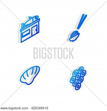 Set Isometric Line Sushi, Seafood Store, Scallop Sea Shell And Caviar Icon. Vector
