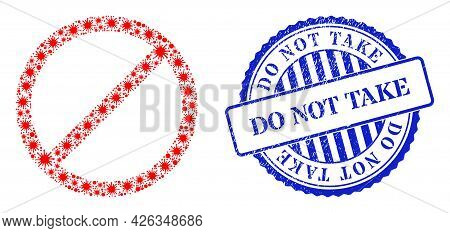 Covid Mosaic Cancel Icon, And Grunge Do Not Take Seal Stamp. Cancel Collage For Isolation Templates,