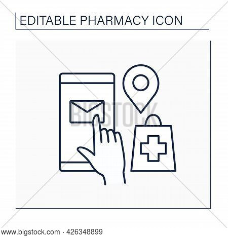 Mail Order Line Icon. Ordering Medication By Post. Drug Delivery. Online Shopping. Pharmacy Concept.