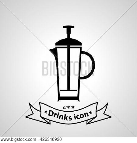 Tea Kettle Sign. Tea Kettle Isolated Simple Vector Icon