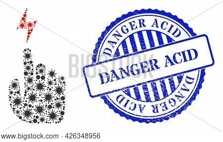 Viral Mosaic Electric Hand Icon, And Grunge Danger Acid Stamp. Electric Hand Mosaic For Epidemic Ima