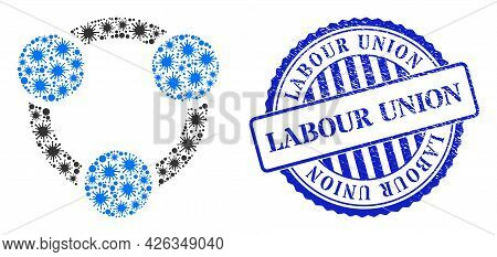 Bacilla Collage Collaboration Icon, And Grunge Labour Union Seal Stamp. Collaboration Collage For Ep
