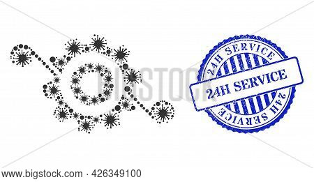 Bacterium Collage Gear Solution Icon, And Grunge 24h Service Seal Stamp. Gear Solution Collage For M