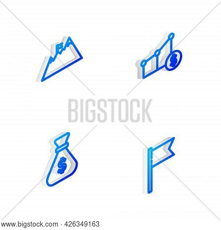 Set Isometric Line Pie Chart And Dollar, Mountains With Flag, Money Bag And Location Marker Icon. Ve