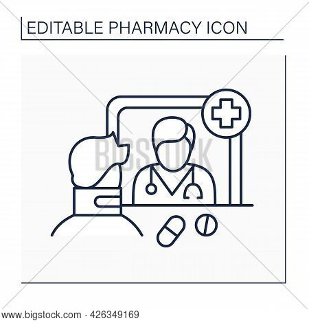 Community Pharmacy Line Icon. Retail Pharmacy. Organization Allows Public Access To Medications And
