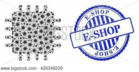 Covid-2019 Mosaic Chip Icon, And Grunge E-shop Seal. Chip Mosaic For Epidemic Images, And Scratched
