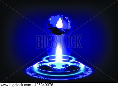 Abstract Background. Portal And Hologram Science Futuristic. 3d Sci-fi Digital Hi-tech In Glowing Hu