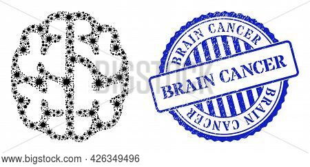 Bacterium Mosaic Brain Icon, And Grunge Brain Cancer Seal Stamp. Brain Mosaic For Pandemic Templates