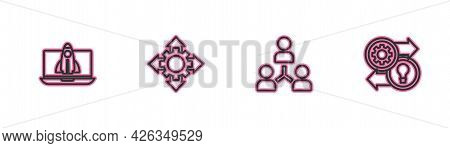 Set Line Startup Project Concept, Project Team Base, And Human Resources Icon. Vector