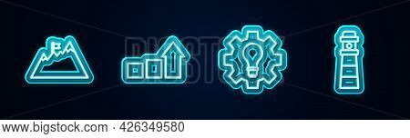 Set Line Mountains With Flag, Financial Growth, Light Bulb And Gear And Lighthouse. Glowing Neon Ico