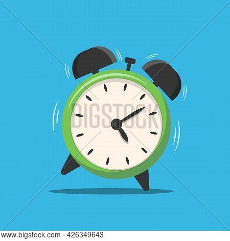 Alarm Clock Isolated On Background. Alarm Clock Is Ringing. Vector Stock
