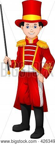 Cute Boy Wearing A Marching Band Leader Costume