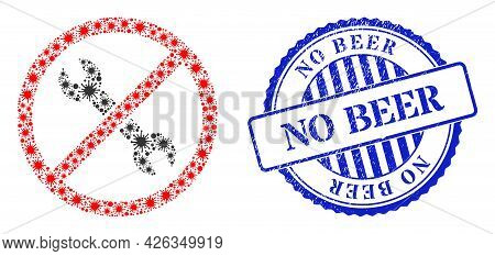 Infection Mosaic Forbidden Repair Icon, And Grunge No Beer Seal Stamp. Forbidden Repair Collage For