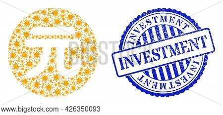 Cell Mosaic Chinese Yuan Coin Icon, And Grunge Investment Seal. Chinese Yuan Coin Mosaic For Isolati