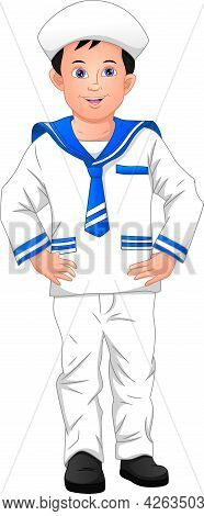 Cute Boy Wearing Sailor Costume On A White Background
