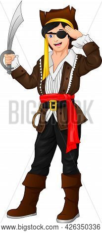 Pirate Boy Posing And Holding A Sword On A White Background