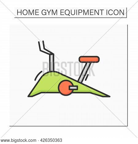 Stationary Bike Color Icon. Home Gym Spinning Or Cycling Machine. Home Cycling Or Spinning Cardio Ex