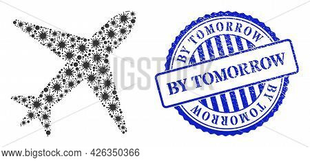 Bacterium Collage Airplane Icon, And Grunge By Tomorrow Stamp. Airplane Mosaic For Isolation Images,