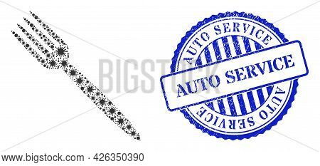 Virulent Collage Fork Icon, And Grunge Auto Service Seal Stamp. Fork Mosaic For Breakout Templates,