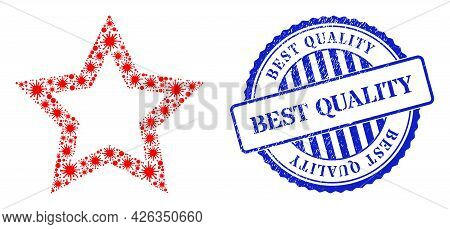 Infection Mosaic Contour Star Icon, And Grunge Best Quality Seal Stamp. Contour Star Mosaic For Epid