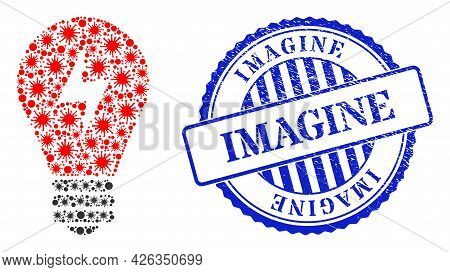 Viral Mosaic Electric Bulb Icon, And Grunge Imagine Stamp. Electric Bulb Collage For Pandemic Images