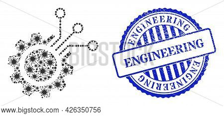 Bacterium Collage Electronic Gear Icon, And Grunge Engineering Seal Stamp. Electronic Gear Collage F