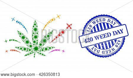 Bacterium Collage Cannabis Euphoria Icon, And Grunge 420 Weed Day Seal Stamp. Cannabis Euphoria Coll