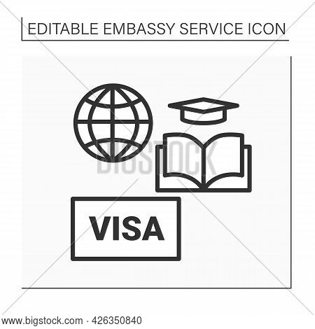 Studies Line Icon. Visa Request To Study In Different States. Sign Agreement On Visa-free Period For