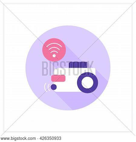Smart Cleaner Flat Icon. Digital Modern Householding. Smart Vacuum Cleaner. Smart Home.digital Smart