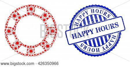 Covid-2019 Collage Casino Chip Icon, And Grunge Happy Hours Stamp. Casino Chip Collage For Isolation