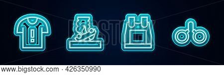 Set Line T-shirt Protest, Burning Car, Bulletproof Vest And Handcuffs. Glowing Neon Icon. Vector
