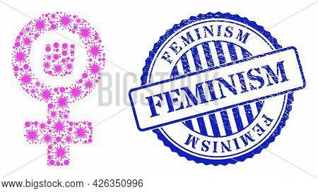 Coronavirus Mosaic Feminism Symbol Icon, And Grunge Feminism Seal Stamp. Feminism Symbol Mosaic For