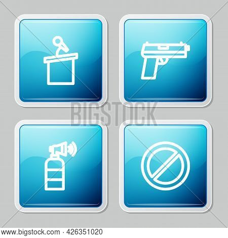 Set Line Stage Stand Or Tribune, Pistol Gun, Air Horn And Ban Icon. Vector
