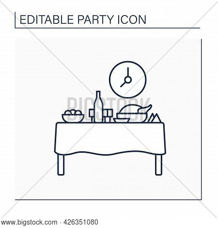 Dinner Party Line Icon. Formal Evening Meal Party With Special Guests. Preparing Delicious Food And