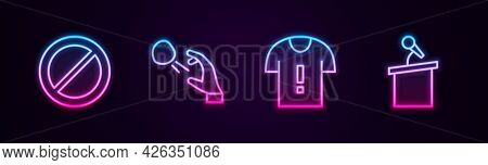 Set Line Ban, Hooligan Shooting Stones, T-shirt Protest And Stage Stand Or Tribune. Glowing Neon Ico