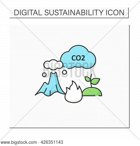 Carbon Emission Color Icon.co2. Emit Gas Into Atmosphere. Climate Change. Negative Impact On Environ