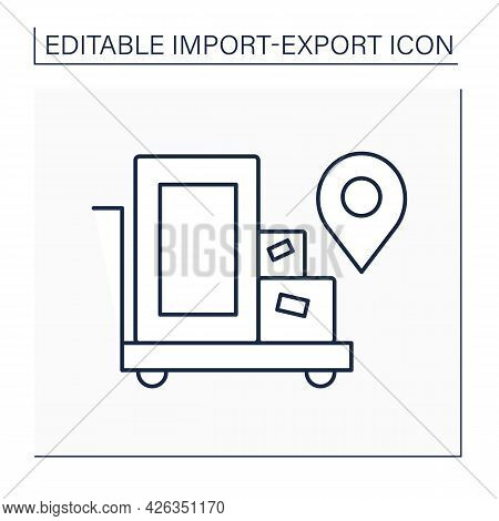Cargo Line Icon. Goods Carried By Ship. Boxes With Goods Which Are Delivered To Locations. Import An