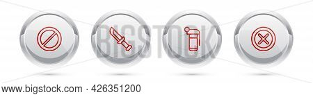 Set Line Ban, Military Knife, Hand Grenade And X Mark, Cross In Circle. Silver Circle Button. Vector