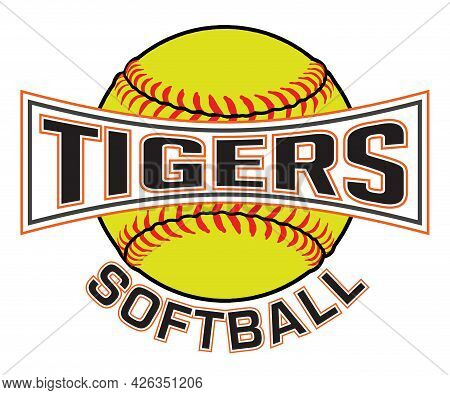 Tigers Softball Graphic Is A Sports Design Which Includes A Softball And Text And Is Perfect For You